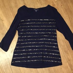 Coldwater Creek Navy tee with gold sequin design